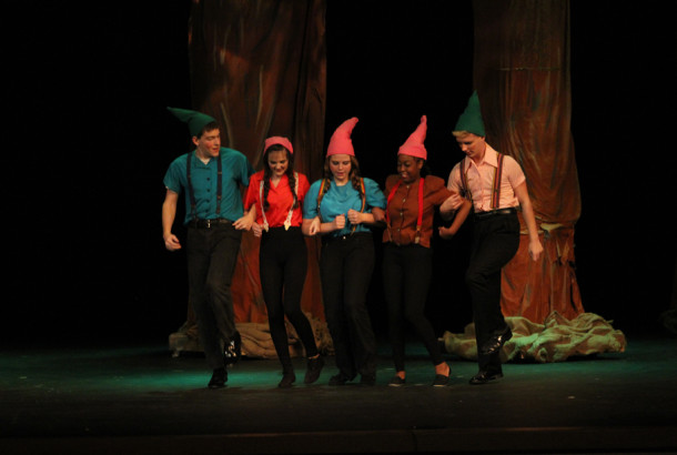 Daniel Dean, Kaeley Qualls, Shelby Pierce, Makayla Mitchell, and Zach Pace display their talent in their eminent roles as Gnomes during the opening of Holka Polka on Friday, October 18th, 2013.