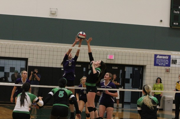 Hannah Altman goes up for a block in the teams victory at Lake Dallas last Tuesday. The team defeated Azle on Friday setting up a key game tonight against rival Guyer.