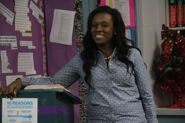 English Teacher Ashley Sharp takes a moment to get to know her students in her sophomore English class.
