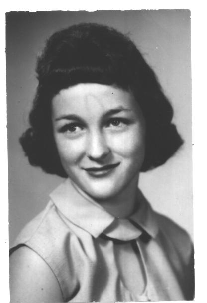 Mrs. McEuin's yearbook photo from the 1962 The Bronco Yearbook.