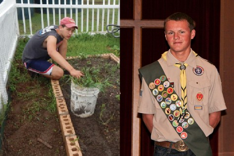 Senior Jason Jezek replants gardens at the ICCS (left) and junior Jack Rayson poses in his scouting uniform. Jezek, Rayson, and senior Gabe Wawro all elevated to the level of Eagle Scout this year.